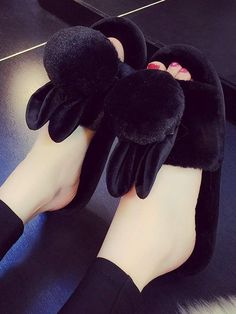 Shop Cute Ear Fluffy Slippers at ROMWE, discover more fashion styles online. Bunny Slippers, Cute Slippers, Slippers For Girls, Baby Girl Shoes, Girls Shoes, Sneakers Fashion, Fashion Boots, Fluffy Shoes, Bedroom Slippers