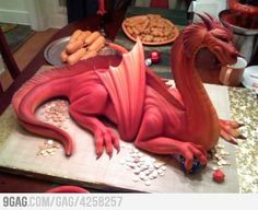 Corn dogs mozzarella sticks, a chocolate fountain, and a dragon cake...It's like they knew what I wanted for my birthday, but had no idea when my birthday is or where I live.