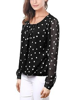 DJT Womens Korean Style Polka Dot Pleated Loose Blouse Tops
