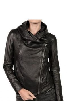 Leather Skin Women Black Brando Hooded Hoodie Genuine Real Leather Jacket - All About Black Leather Biker Jacket, Leather Jackets, Hooded Leather Jacket, Hooded Jacket, Leather Skin, Real Leather, Cowhide Leather, Lambskin Leather, Leather Bags