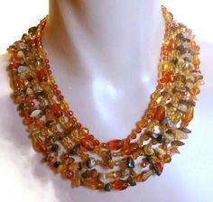 Monet 5 strand necklace natural tiger's eye by maggiescornerstore, $58.00