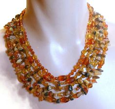 Monet 5 strand necklace natural tiger's eye by maggiescornerstore, $58.00