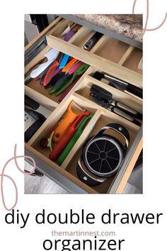 Diy Drawer Organizer, Kitchen Drawer Organization, Diy Kitchen Storage, Drawer Organisers, Drawer Storage, Diy Organization, Knife Storage, Organizing Kitchen Utensils, Modern Kitchen Drawer Organizers