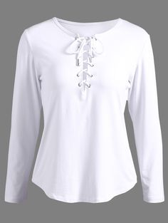 $13.51 Lace-Up Long Sleeve T-Shirt