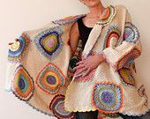 Plus Size Women's Cardigan Sweater Beige with Crochet Circles - reserved