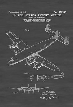 Lockheed Constellation Airplane Patent - Vintage Airplane Airplane Blueprint Airplane Art Pilot Gift  Aircraft Decor Airplane Poster by PatentsAsPrints