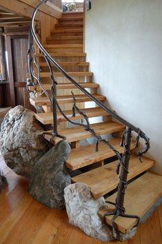 most amazing staircase design wrought iron banister ideas modern staircase Staircase Design Modern, Staircase Railing Design, Rustic Staircase, Railing Ideas, Escalier Art, Outdoor Stair Railing, Wrought Iron Stair Railing, Polished Concrete Flooring, Casa Loft