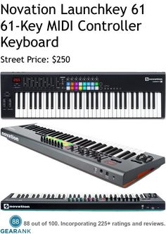 Novation Launchkey 61 - 61-Key MIDI Keyboard Controller. Features: Keys: 61 semi-weighted / synth-style / velocity-sensitive keys. - Pads: 16 full-color RGB backlit velocity sensitive drum pads. - Controls: 8 knobs, 9 sliders, 6 dedicated transport controls - Automap: with Ableton, Reason, Protools and other mainstream DAWs. For a Detailed Guide to The Best 61 Key MIDI Controller Keyboards see https://www.gearank.com/guides/61-key-midi-controller
