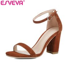 Esveva 2017 short summer peep toe sandals square high heel sandals genuine leather shoes woman black wedding shoes size 34-39 (China (Mainland))