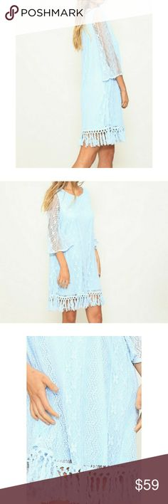 💐BABY BLUE BOHO LAVE TUNIC DRESS💐 🤝YOU CAN SHOP WITH CONFIDENCE🤝 ⭐A seller you can trust⭐ GUARANTEED HAPPINESS💅   ❣BRAND NEW ❣BOUTIQUE ITEM ❣SPRING INTO SPRING WITH YOUR BREATH TAKING TUNIC DRESS! I MEAN LOOK AT THAT COLOR😍. FULLY LINED, COTTON MACRAME FRINGE LACE TRIMMING AT SKIRT HEM. 1/2 LENGTH BELL SLEEVES. OUTER IS 80% COTTON AND 20% NYLON. LINING IS 100% POLY.    💎Shine bright And Wear What You Love, You Don't Need A Reason - FirstClassBTQ Dresses Midi