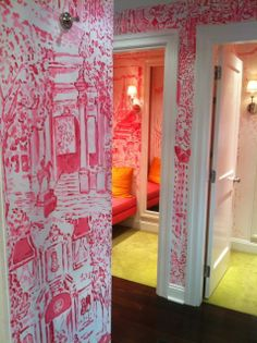 Dressing Room | Hot Pink Painted Wallpaper | Chartreuse Floors