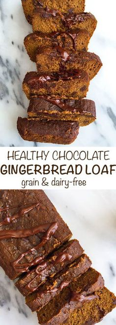 Healthy Dark Chocolate Gingerbread Loaf! Grain free, dairy free and SO easy to make! The perfect holiday loaf to make without feeling like you overindulged. #organicmoments