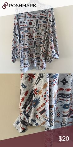 Tribal Print Sweater Tunic Never worn, super soft and fairly lightweight. Has batwing sleeves and is perfect length for leggings. Sweaters Crew & Scoop Necks