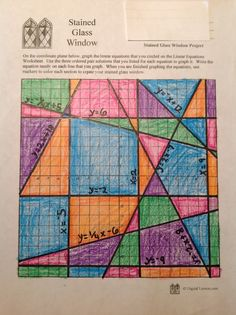This Stained Glass Math Activity requires students to graph Linear Equations in order to create a colorful display window. Math Teacher, Math Classroom, Teaching Math, Math Art, Fun Math, Math Resources, Math Activities, Geometry Activities, Linear