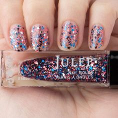 Julep FIREWORKS Nail Color Treat Red, White & Blue Multi-D Glitter Top + Stars! #Julep
