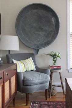Stunning focal point:  oversized vintage galvanised tub in an elegantly restrained sitting room