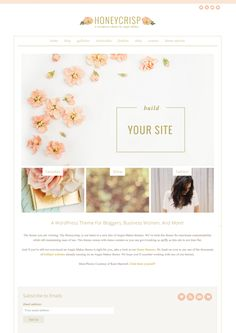The Honeycrisp #Wordpress Theme by Angie Makes. Feminine Wordpress Theme.