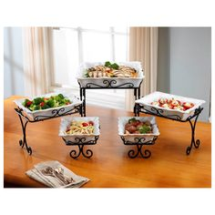 Display and serve your meal in style with this attractive and functional 5 Tier Buffet Server.