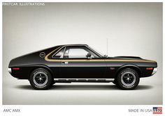 Firstcar Illustrations | Personalized Car Illustrations | AMC AMX 1970