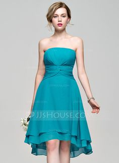 [US$ 77.49] A-Line/Princess Strapless Asymmetrical Chiffon Bridesmaid Dress With Ruffle