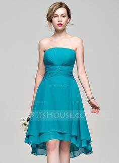 A-Line/Princess Strapless Asymmetrical Ruffle Zipper Up Strapless Sleeveless No Jade Spring Summer Fall General Plus Chiffon Bridesmaid Dress