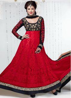 Graceful Red #Net Ankle Length #Anarkali #Suit