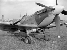 """Spitfire BS456 1X in Northolt 22 August 1943. This is the Polish pilot Flight Lieutenant Lew Kurylowicz hunter who was killed by a Focke-Wulf 190 near Rouen after himself down another FW-190. It was recovered unharmed after five days at sea in his dinghy - Note the additional tank """"long-range"""": *BFD*"""