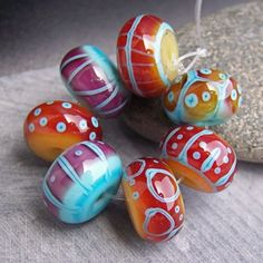 SOLD. MruMru handmade Lampwork bead set | Flickr - Photo Sharing!