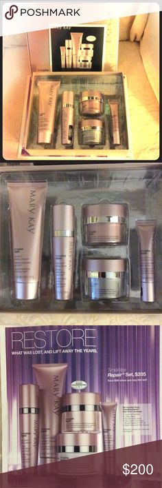 Mary Kay Timewise Repair set MK Timewise Repair Set, brand new. Contains: 4.5oz Volu-firm Foaming Cleanser; 1oz Volu-firm Lifting Serum; 1.7oz Volu-firm Day cream SPF30; 1.7oz Volu-firm Night Treatment with retinol; 0.5oz Volu-firm eye renewal cream. Mary Kay Makeup