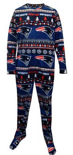 WebUndies.com New England Patriots Ugly Sweater Guys Onesie Footie Pajama