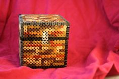 Minecraft Chest Inspired Box Made of Perler and Hama Beads with Removable Lid