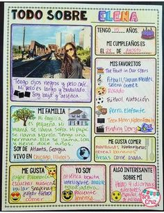 All About Me Back to School Freebie (Spanish & English)This infographic activity is a great way to g Middle School Spanish, Elementary Spanish, Spanish Basics, Spanish English, Spanish Lesson Plans, Spanish Lessons, Spanish Language Learning, Teaching Spanish, Learning English