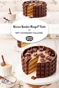 Small Kinder-Riegel® cake- Kleine Kinder-Riegel®-Torte A small cake with Kinder-Riegeln®️️ and a creamy filling birthday - Easy Smoothie Recipes, Easy Smoothies, Easy Cake Recipes, Cupcake Recipes, Snack Recipes, Torte Au Chocolat, Torte Recipe, Coconut Recipes, Small Cake