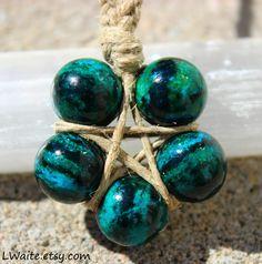 Chrysocolla Hemp Wrapped Healing Crystal Star Necklace Original art by L. Thompson