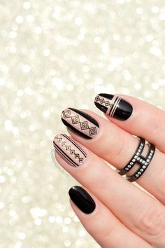 BLACK AND GOLD NAILS with SoNailicious Stickers