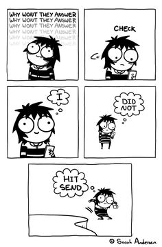 Anybody who's familiar with the comics of Sarah Andersen will know how perfectly they summarize the daily struggles of modern life, especially when it comes to Marvel Girls, Cute Comics, Funny Comics, Funny Cartoons, Sarah Andersen Comics, Sara Anderson, Sarah's Scribbles, Mini Mundo, The Awkward Yeti