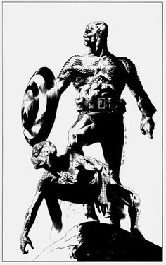 Captain America & Spidey illustrated by Jae Lee