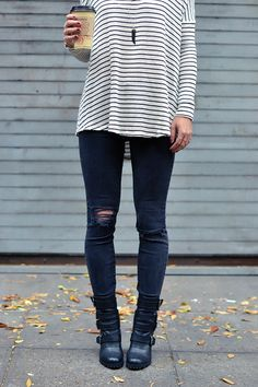 fall outfit, moto boots, ripped black skinny jeans, striped sweater.