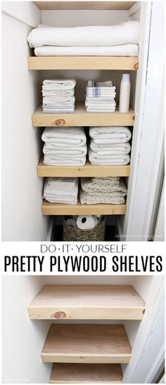 bathroom closet A DIY tutorial for making easy and pretty plywood shelves for your linen closet. Make your closet organized, functional and user friendly with shelves. Diy Bathroom, Bathroom Closet, Bathroom Shelves, Small Bathroom, Kitchen Shelves, Bathroom Ideas, Downstairs Bathroom, Diy Kitchen, Basement Kitchen