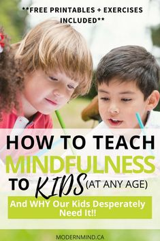 Practicing mindfulness can help kids learn to focus, manage stress, calm down, and nurture kindness and compassion. Here's how to teach Mindfulness to kids - at any age! mindfulness for kids. Guided Mindfulness Meditation, Teaching Mindfulness, Mindfulness Exercises, Mindfulness For Kids, Mindfulness Activities, Mindfulness Quotes, Mindfulness Benefits, Meditation Kids, Mindfulness Therapy