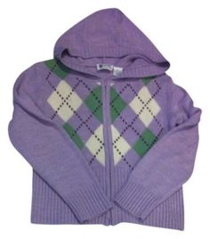 WARM UP!   Lavender Green Zip Argyle Large Juniors Xs 2 Sweater UNDER $12 with FREE SHIPPING - Easy Returns.    Juniors Jackpot closet for all your wardrobe needs for around 10 bucks!!  Check it out.