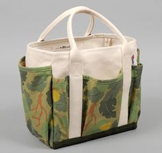 "TH-S & CO. UTILITY TOTE, ""LEAF CAMO"" PRINT SATIN WEAVE CHINO :: HICKOREE'S HARD GOODS made in the USA $85.00.  almost too nice to use just for gardening tools"