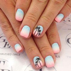 beach bum summer nails palm trees cute girly love