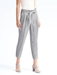 Avery-Fit Linen Stripe Tie-Waist Pant