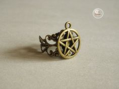 antique bronze supernatural pentacle ring jewelry --adjustable size on Etsy, $2.90