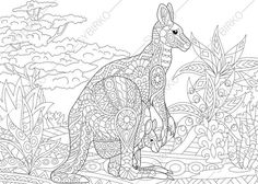 Kangaroo Family Adult Coloring Book Page. by ColoringPageExpress