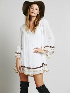 Free People Strappy Tattered Ruffle Tunic at Free People Clothing Boutique