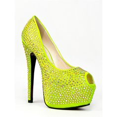 REVA Pump ($45) ❤ liked on Polyvore featuring shoes, pumps, yellow, pastel shoes, holographic shoes, yellow pumps, cocktail shoes and holiday shoes