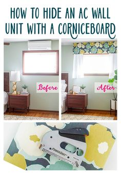 AC units can be so ugly. You can easily cover up it up with a DIY fabric-wrapped cornice board. This step-by-step tutorial shows you how to properly measure your window area and your particular AC unit, and how to construct the wooden cornice board and wrap it with decorative fabric. http://www.ehow.com/how_12343175_hide-ac-wall-unit-cornice-board.html?utm_source=pinterest.com&utm_medium=referral&utm_content=freestyle&utm_campaign=fanpage