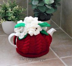 CABLE COSY - Stunning Handmade Wine Red Tea Cosy/Cozy topped with 6 white flowers with pearl button centres - Ready to Ship by TheCosyShoppe on Etsy How To Order Coffee, Cream Tea, Beautiful Crochet, Greeting Cards Handmade, White Flowers, Cosy, Hand Knitting, Tea Pots, Cable